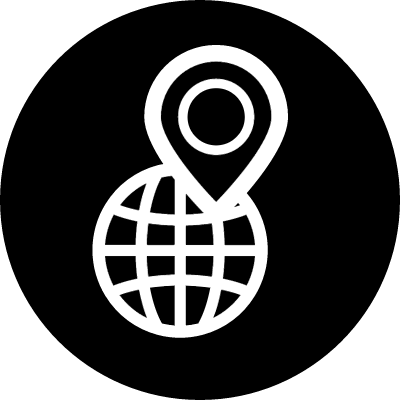 World with a pin symbol in a circle vector logo