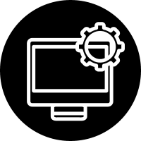 Computer setting outline interface symbol in a circle vector