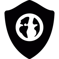 Earth symbol on protection shield vector