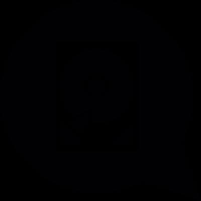 Speech balloon with computer disc drive vector logo