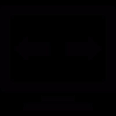Horizontal scroll arrows on the monitor vector logo