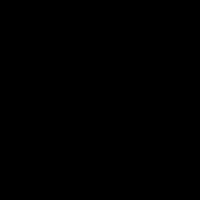 Dollar sign inside oval shape vector