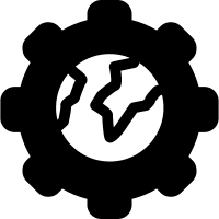 World settings symbol in a circle vector