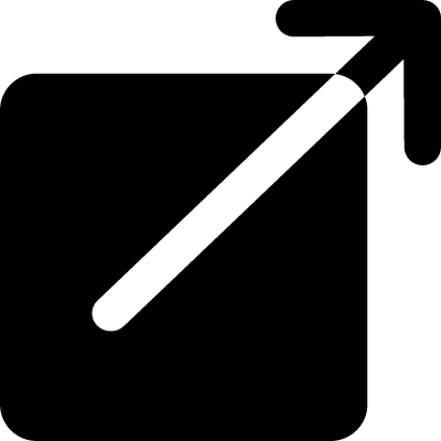 Black square button with an arrow pointing out to upper right vector logo