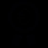 Euro symbol in a badge vector