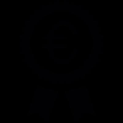 Euro symbol in a badge vector logo