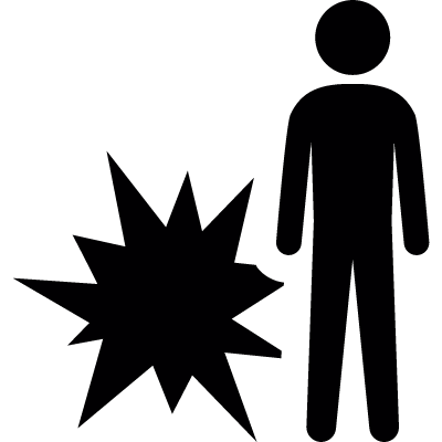 Man standing beside a xmas fireworks explosion vector logo
