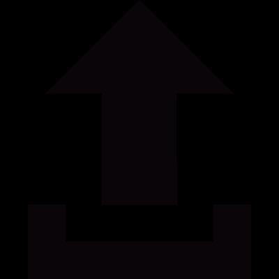 Small upload button with an arrow vector logo