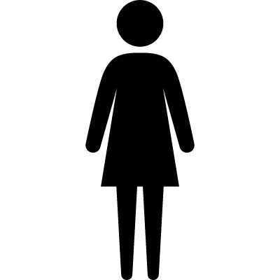 Standing female wearing dress vector logo