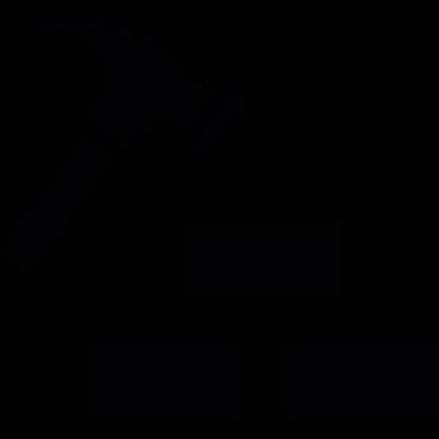 Hammer with bricks vector logo