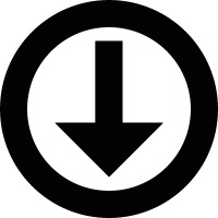 Down arrow in circle vector