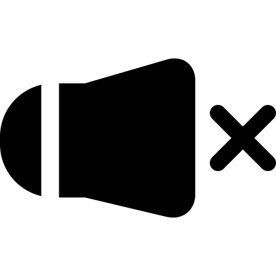 Mute phone speaker interface symbol with a cross vector logo