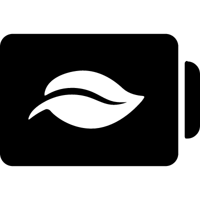 Battery status symbol with a leaf vector logo
