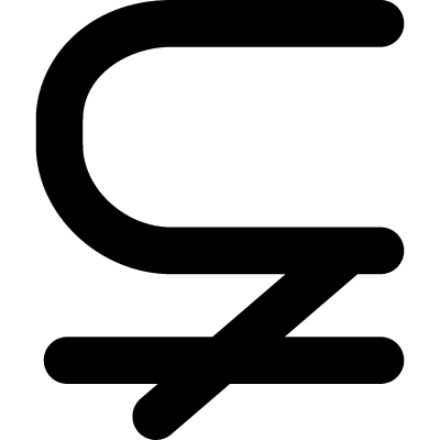 Subset of with not equal mathematical symbol vector logo