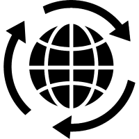 Earth with a circle of three arrows vector