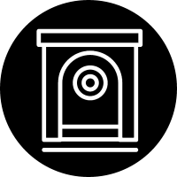 Safebox outline variant inside a circle vector