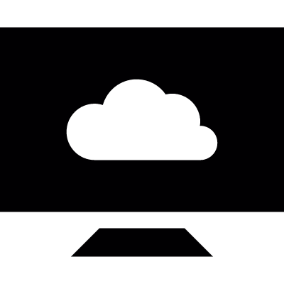 Computer with cloud storage vector logo