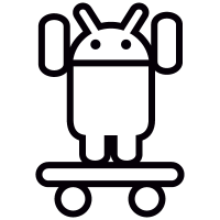 Android On Skateboard with Two Arms Up vector