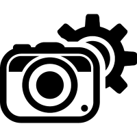 Photo camera configuration symbol for interface with a gear behind vector