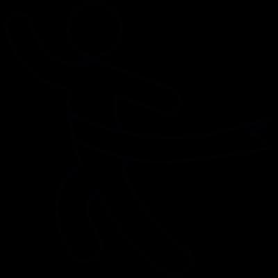 Running at finish line vector logo