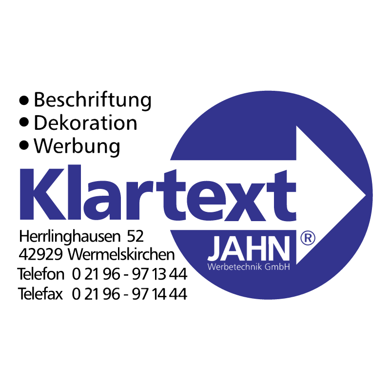 Klartext Jahn Werbetechnik vector logo