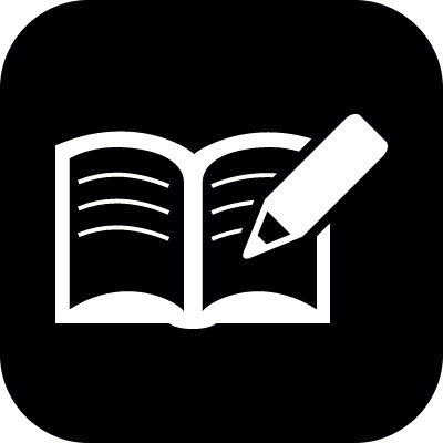 Writting on an open notebook vector logo