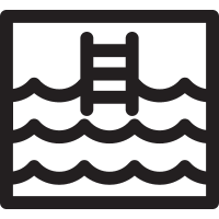 Swimming pool square with Ladder vector