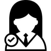 Female user verified symbol for interface vector