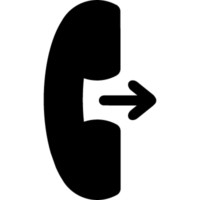 Call symbol of telephone auricular with an arrow facing and pointing to right vector logo