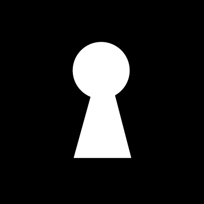 Keyhole shape in a black square vector logo