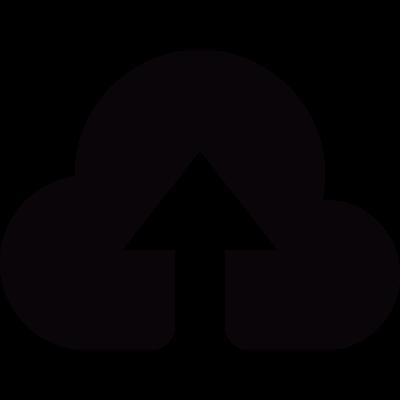 Small cloud upload symbol vector logo