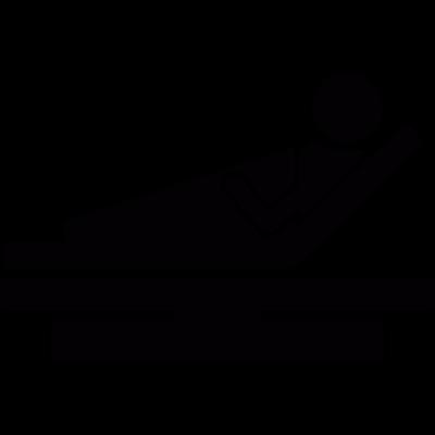 Patient in hospital bed vector logo
