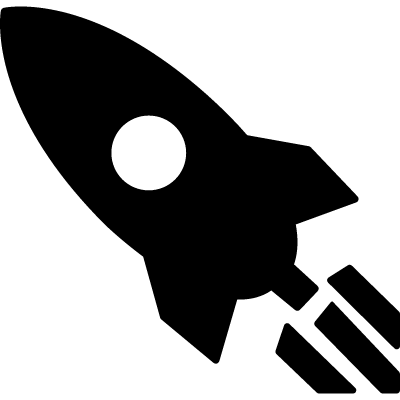 Rocket pointing to upper left direction vector logo