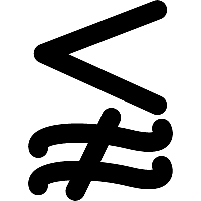 Less and not approximately equal mathematical symbol vector logo