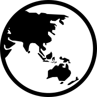 Earth symbol with Asia and Oceania vector
