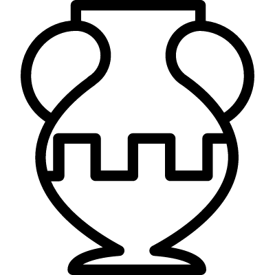 Ancient jar outline in a museum vector logo