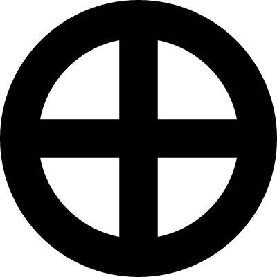 Earth sign of a circle with a cross vector logo