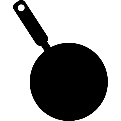 Frying pan silhouette from top view vector logo