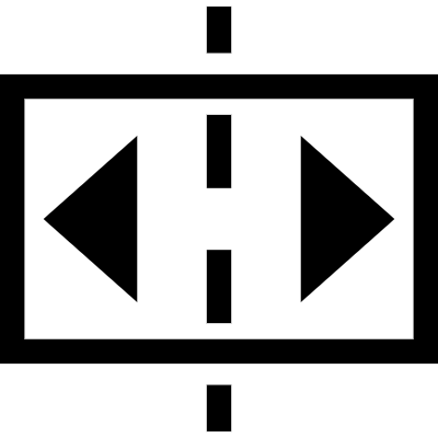 Two arrows in a rectangle divided by broken line vector logo