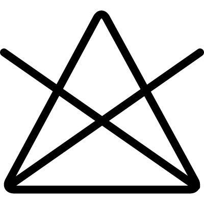 Washing option symbol of a triangle with a cross vector logo