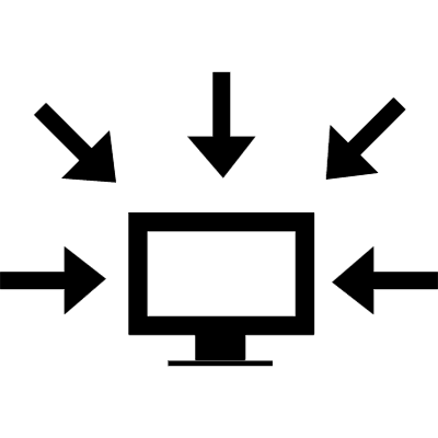 Computer data interface symbol of a monitor surrounded by arrows pointing to it vector logo