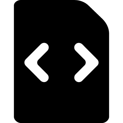 Code filled file with two arrows to right and left vector logo