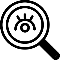Search interface symbol of a magnifier with an eye inside vector