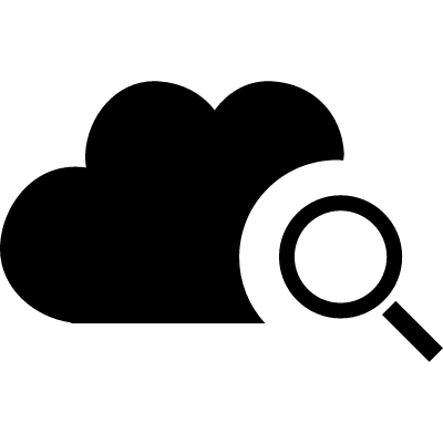 Cloud search interface symbol with a magnifier vector logo