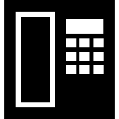 Telephone square tool symbol from top view vector logo