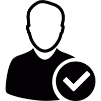 User avatar with check mark vector