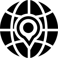 Earth grid symbol with a placeholder vector