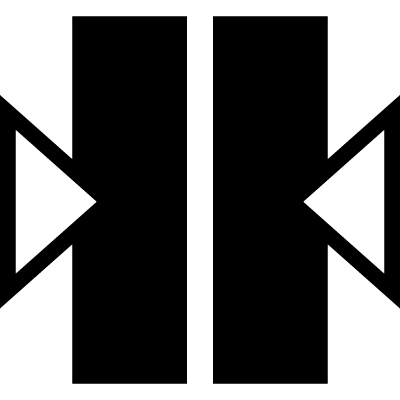 Two vertical bars with two arrows at sides pointing to the center vector logo