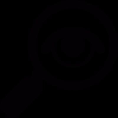 Eye on magnifying glass vector logo