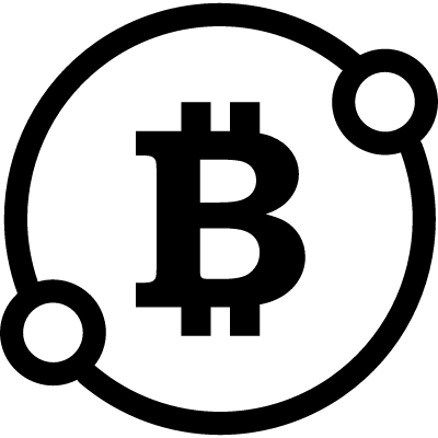 Bitcoin sign in a circle with two spots connect symbol vector logo